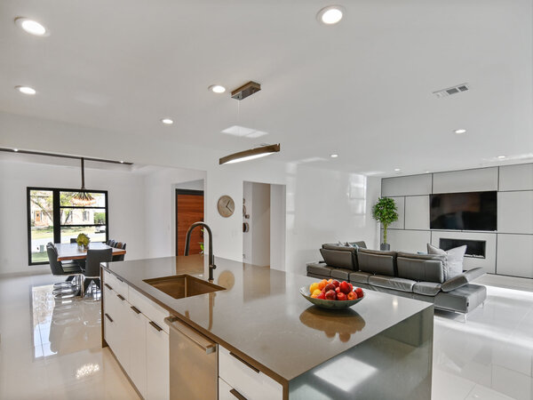 Newly remodeled house with an open concept kitchen living room dining room